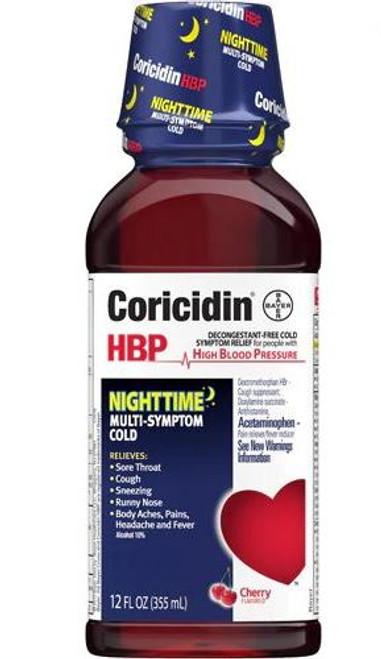 Coricidin HBP Nighttime Multi Symptom Cold Liquid, 12 OZ