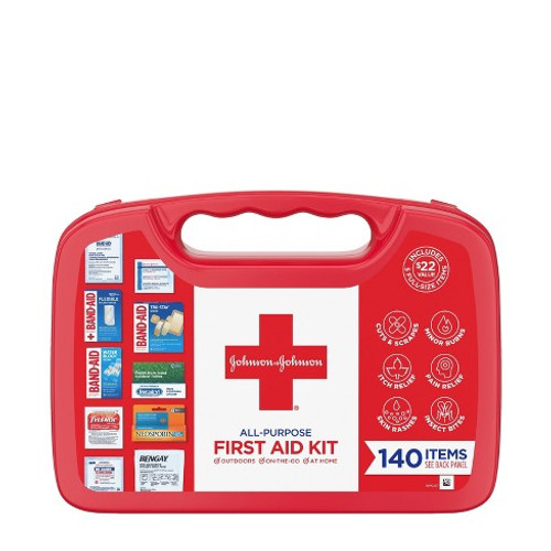 Johnson & Johnson All-Purpose Portable Compact First Aid Kit, 140 CT