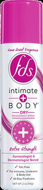 Intimate + Body Dry Deodorant Spray, Extra Strength, 2 oz