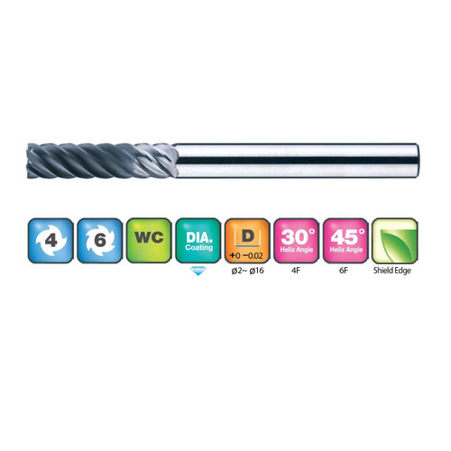 4&6 Flutes Diamond Coated End Mills for Graphite