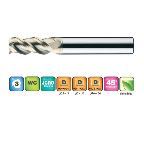 3 Flutes 45 Helix End Mills for SUS