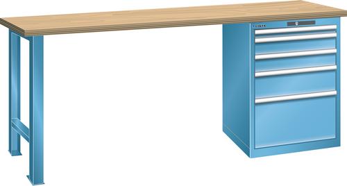 Workbench  (WxDxH) 2000x750x840mm 5 drawers (1x50/2x100/1x150/1x300) 75kg multiplex