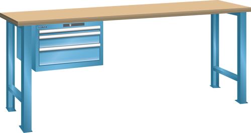 Workbench  (WxDxH) 2000x750x840mm 3 drawers (1x50/1x100/1x150) 75kg multiplex