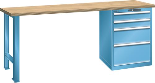 Workbench  (WxDxH) 2000x750x840mm 4 drawers (2x100/1x200/1x300) 75kg multiplex