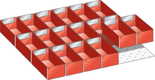 Set plastic boxes 27x27E (WxD) 459x459mm FH 100,125mm 18 plastic boxes