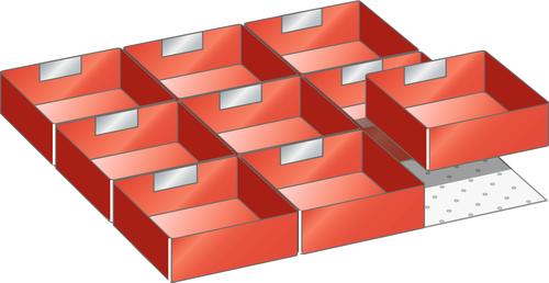 Set plastic boxes 27x27E (WxD) 459x459mm FH 100,125mm 9 plastic boxes