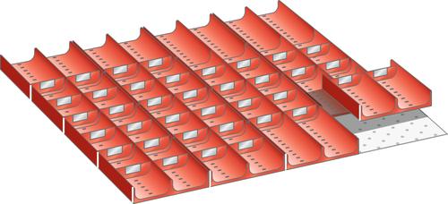 Set troughs 36x36E (WxD) 612x612mm FH 50mm 16 troughs, 40 dividers