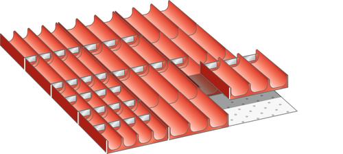 Set troughs 27x36E (WxD) 459x612mm FH 50mm 12 troughs, 30 dividers