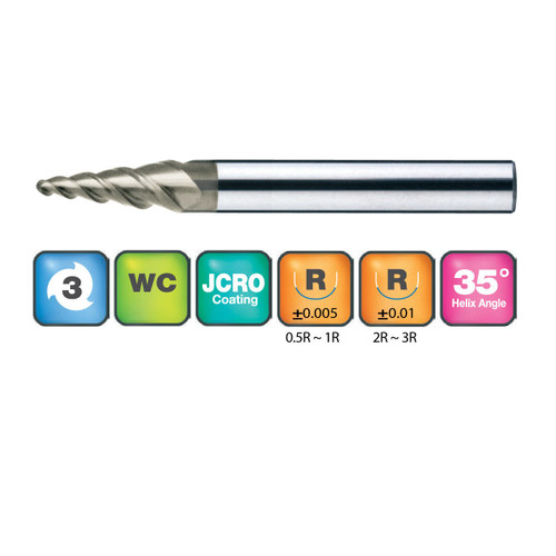 3 Flute Taper Ball Nose End Mills