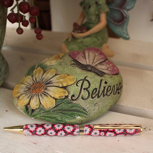 Slimline Pen - Red Anemone Polymer Clay Barrel