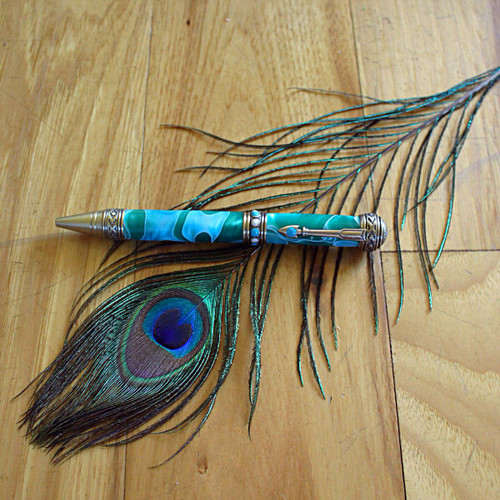Southwest Twist Pen - Brass with Aqua and Green swirl pattern