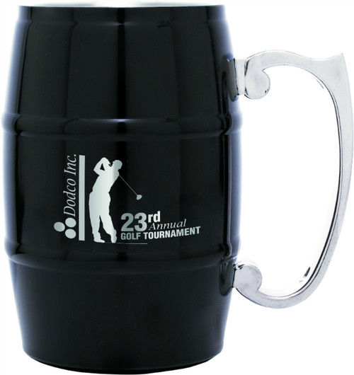 Stainless Steel 17 oz Barrel Mug - Black