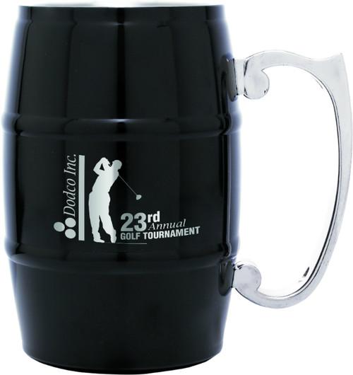 Stainless Steel 17 oz Barrel Mug - Black