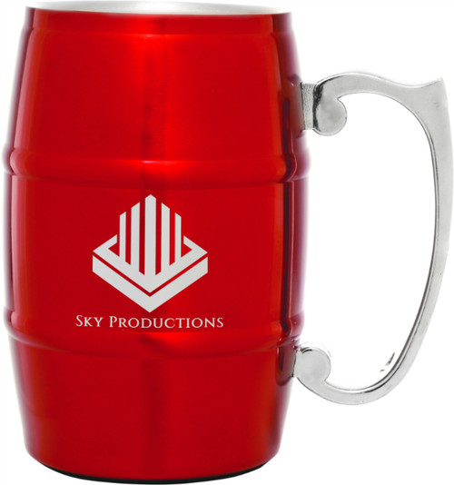Stainless Steel 17 oz Barrel Mug - Red