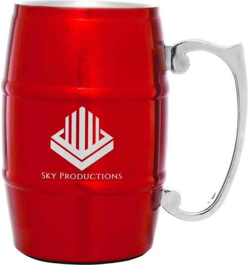 Stainless Steel 17 oz Barrel Mug - Red