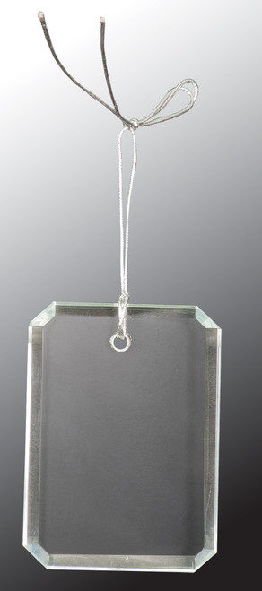 "3"" Crystal Rectangle Clipped Corner Ornament"