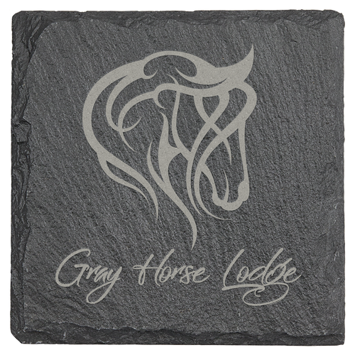 Square slate coaster 4 x 4 inches showing engraving