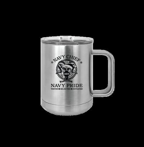 15 oz Coffee Mug with Handle - Navy Chief