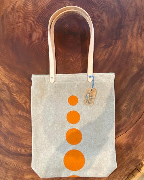 tote bag, polka dot, handmade, organic, orange