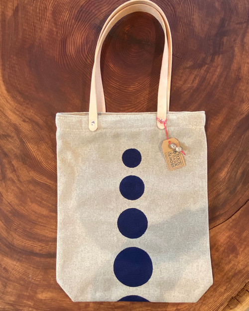 tote bag, polka dot, handmade, organic, navy