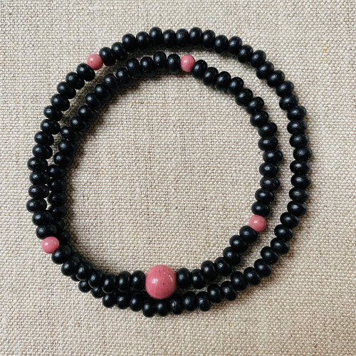 Ebony and Piemontite 108 beaded bracelet