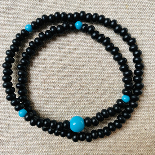 Ebony and Turquoise 108 beaded bracelet