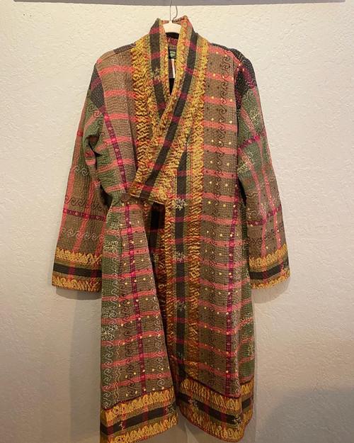 Antique Kantha Kimono Coat L