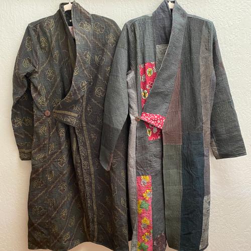 Antique Kantha Kimono Coat S