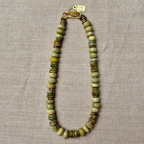 Haolite, Green Turquoise & Brass Necklace