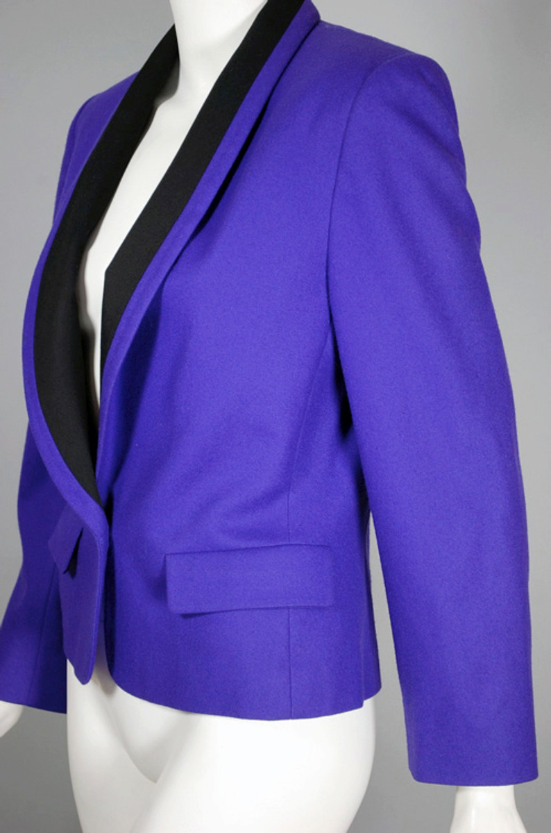 479b2296556 Purple ladies jacket 80s Miss Pendleton cropped tuxedo jacket XS