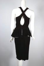 1980s peplum party dress black velvet white satin bow XS