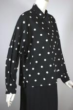 Esprit Sport late 1980s top blouse black white polka dots cotton fits most