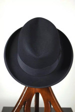 Size 7 Dobbs hat late 1930s homburg black curled rolled brim tall crown
