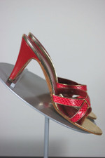 Red gold snakeskin sandals 1970s mules slides high heels size 7.5