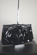 Late 1970s handbag black patent vinyl vegan shoulder bag bow clutch