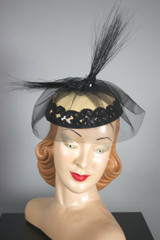 Tall black feathers sequins cocktail hat fascinator 80s does 1940s Betmar