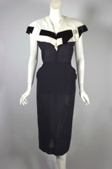 Early 1950s cocktail dress black rayon ivory silk collar XS 34 bust