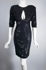 Sexy black sequins bodycon knit 80s dress party evening XS 34-36 bust