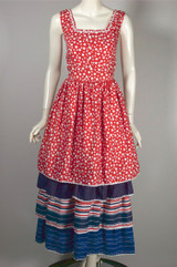 4th of July party dress red white blue polka dot stripes 1960s maxi XS