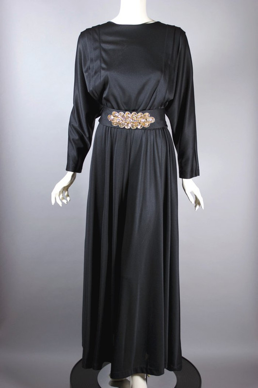 Black jersey wide leg palazzo pant style jumpsuit 1970s 38 40 bust size M
