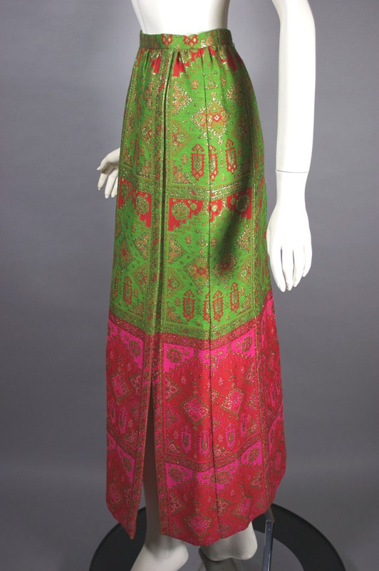 Long evening skirt 1960s maxi metallic brocade gold hot pink green S