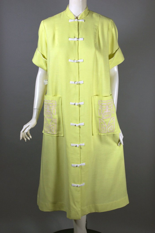 Hawaiian tiki screen printed 1960s robe or jacket yellow size M-L 40-42