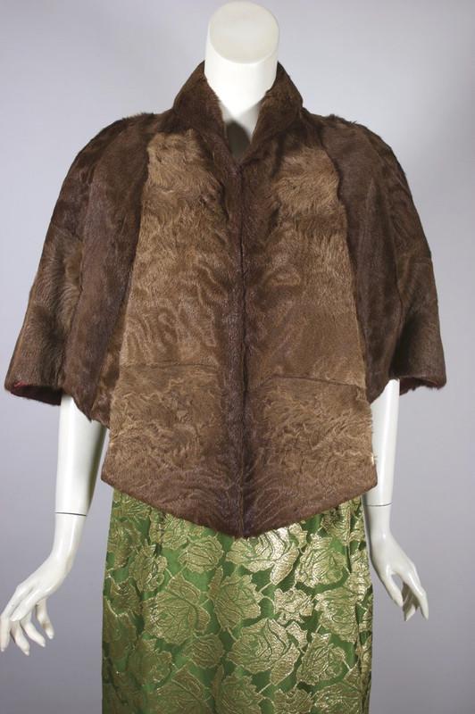Brown Astrakhan caracul karakul lamb fur stole 1950s capelet