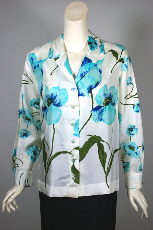 White blue poppies floral print blouse 1960s silk Vera Neumann style