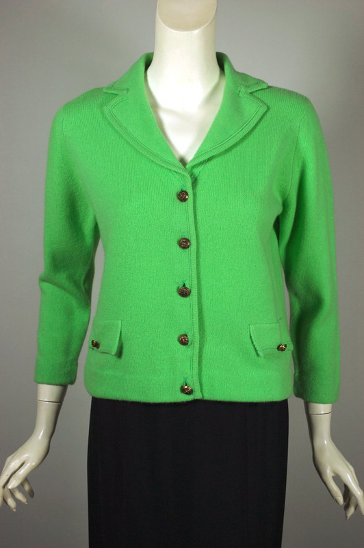 Bright green cashmere cardigan sweater by Dalton 1960s unworn M