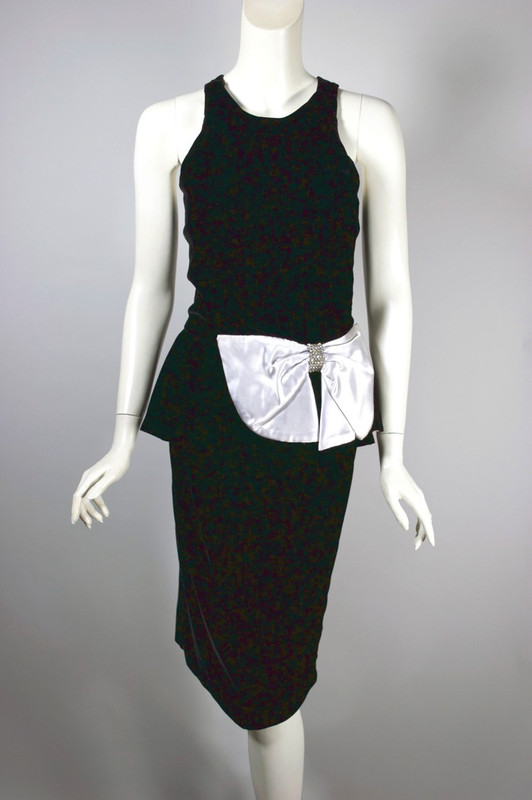 1980s peplum party dress black velvet white satin bow XS