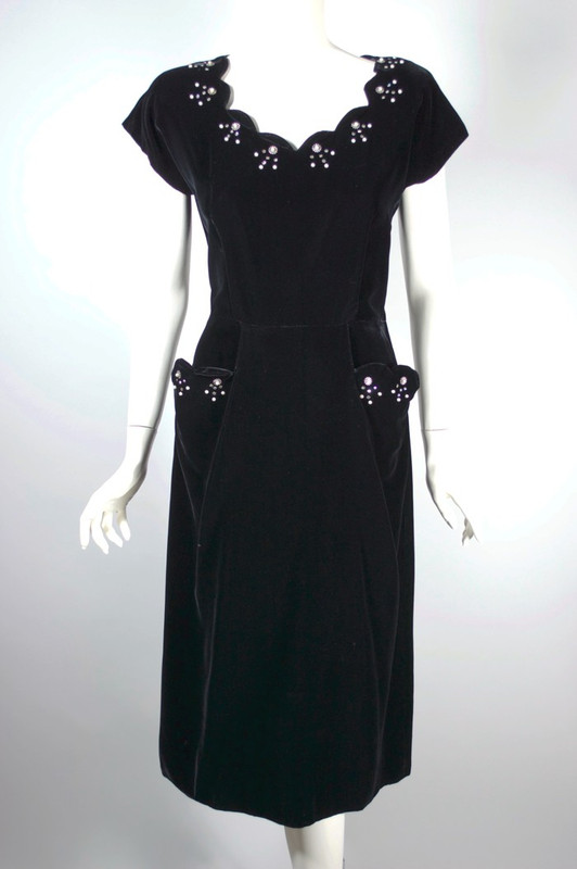 Black velvet 1950s dress cocktail party rhinestones trim | S