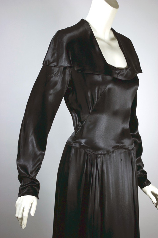 1930s dress black liquid satin rayon cape collar S 27 inch waist