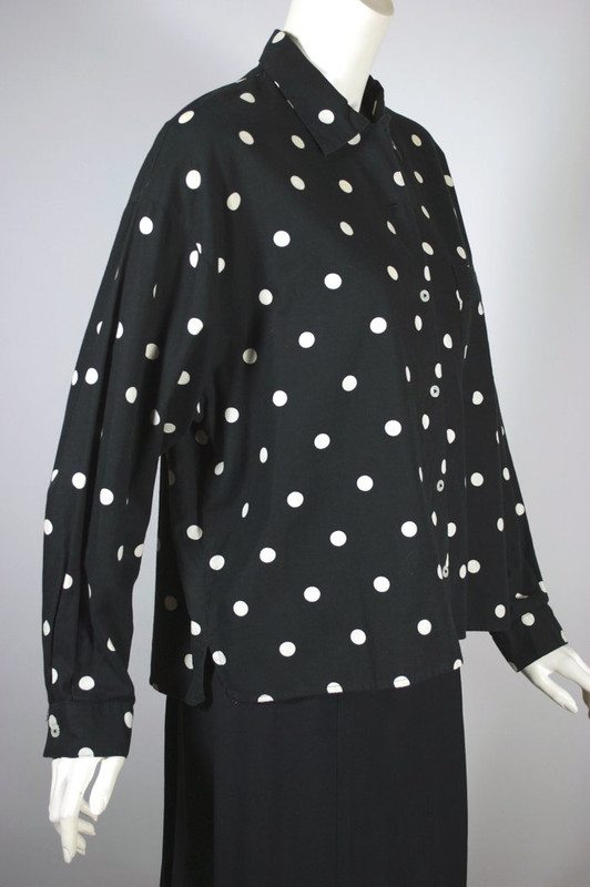 Esprit Sport late 1980s top blouse black white polka dots cotton fits most