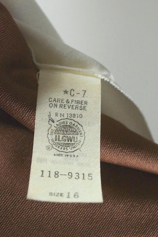 Milk chocolate polyester jersey 1970s disco dress full skirt size M